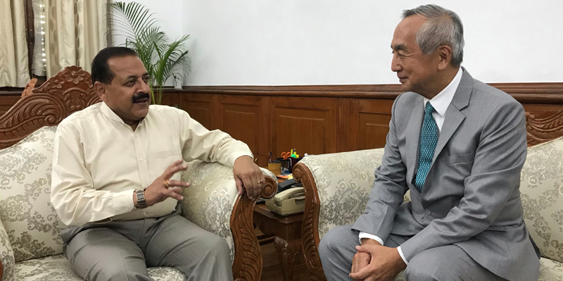 Japan Ambassador to India, Kenji Hiramatsu calls on Union Minister Dr Jitendra Singh, at New Delhi.