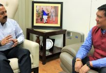 Arunachal Pradesh Chief Minister, Pema Khandu calling on DoNER Minister Dr Jitendra Singh at New Delhi.