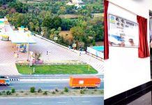A view of COCO fuel station of BPCL at Ghagwal in Samba district (left) and BPCL's Executive Director (Retail), PS Ravi inaugurating the facility (right).