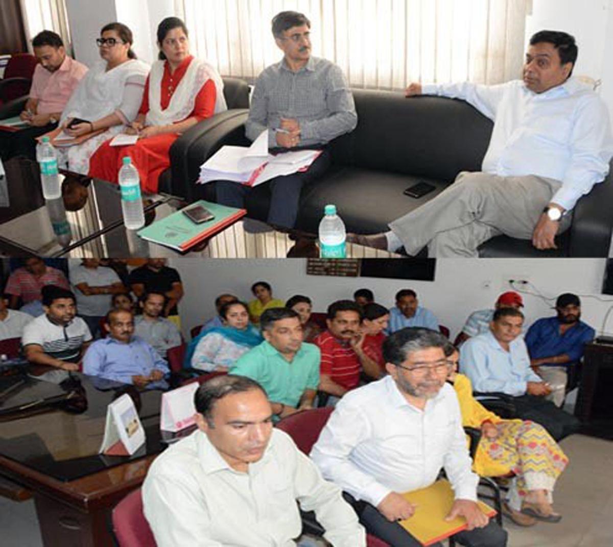 Commissioner Secretary Information, Manoj Kumar Dwivedi chairing a meeting on Wednesday.