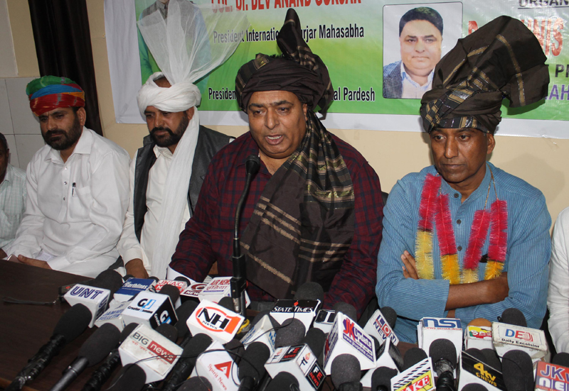 Dr Younis Choudhary, president IGM J&K, along with other leaders addressing a press conference at Jammu.