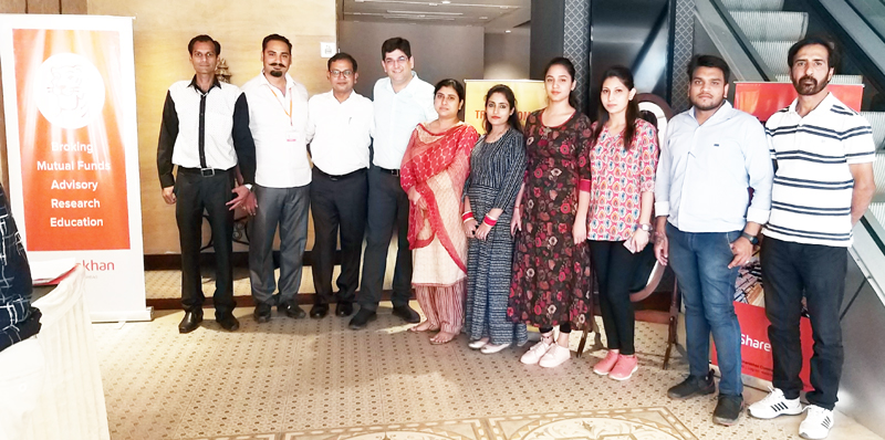 Officials of Sharekhan and MCX posing after culmination of 'Investor Awareness Program' in Jammu.
