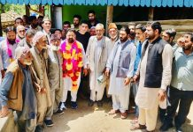 Ex-MLA Ajaz Jan during meeting with people at Loran in Mandi area on Wednesday.