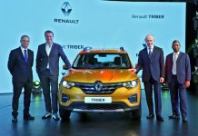 Officials of Renault launching 'Renault Triber' in India.
