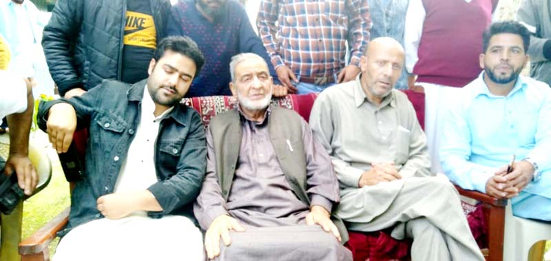 AIP leaders during a function at Ladoora in Rafiabad on Sunday.