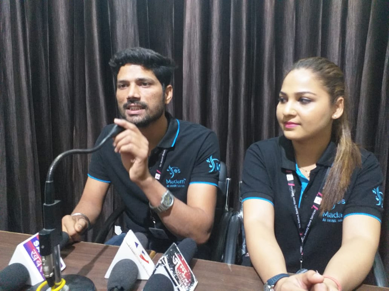 A.K Gupta, Franchisee Owner of 'Yes Madam' addressing a press conference at Jammu on Wednesday.