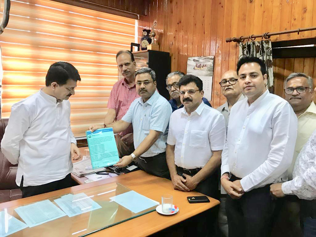 CTF members submitting complaint against officer of CT Deptt to Commissioner, PK Bhat in Jammu on Wednesday.