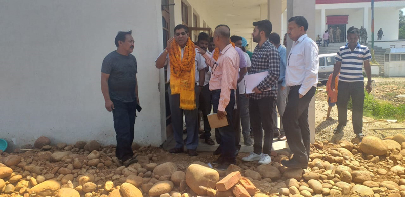 Mayor, JMC, Chander Mohan Gupta during visit to Channi Ramma on Wednesday.