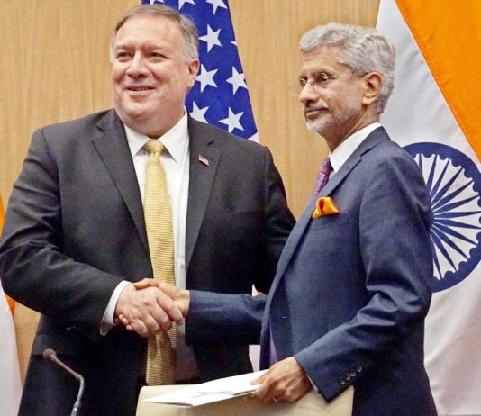 External Affairs Minister S Jaishankar meeting Michael R Pompeo, Secretary of State of the United States of America, in New Delhi on Wednesday. (UNI)