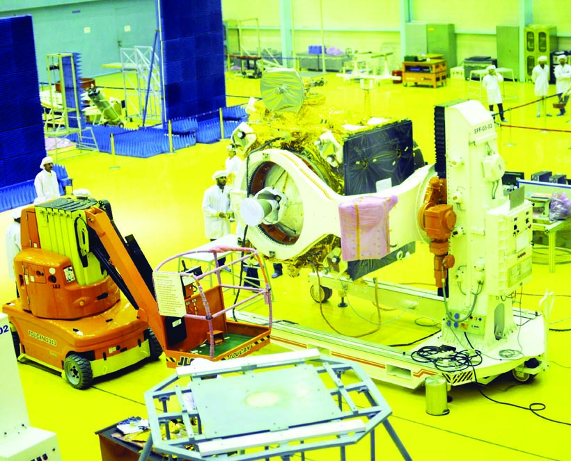 ISRO Scientist give final touches to Chandrayaan 2, India second lunar mission that is scheduled to launched July 15 at ISRO Satellite Integration and Testing Establishment Facility in Bengaluru on Wednesday. (UNI)