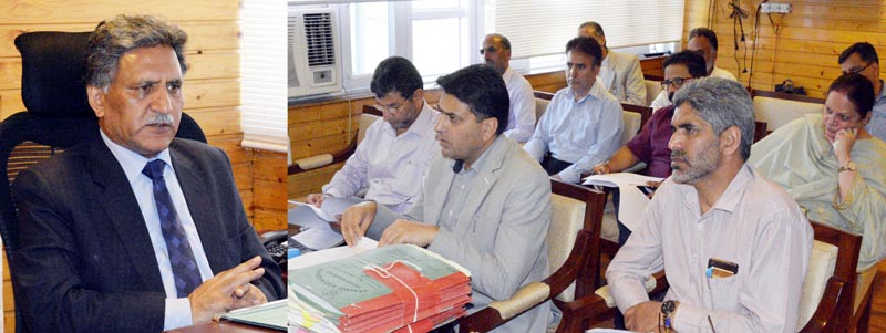 Advisor Khurshid Ahmed Ganai chairing a meetting on Tuesday.