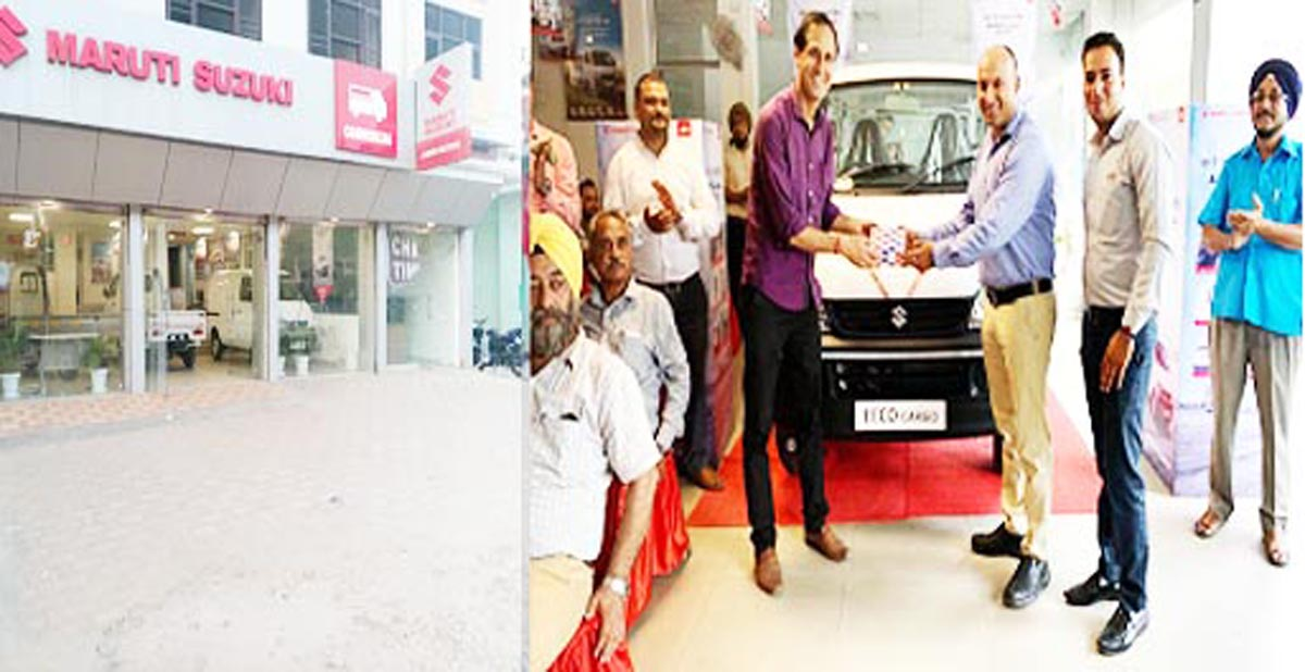 Jammu Motors commercial showroom at Qasim Nagar (left) and Eeco Cargo being launched in the showroom (right).