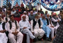 NC leader Javed Rana addressing a public meeting in Mendhar on Wednesday.