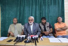 Kashmir House Boat Owners Association addressing a press conference in Srinagar. -Excelsior/Shakeel