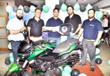 Officials of Bajaj and Jammu Motors during the launch of new Dominar 400 in Jammu.
