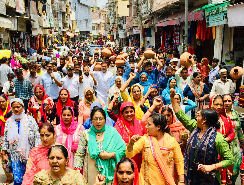 JKNPP leader taking out proterst rally against water scarcity in Udhampur on Tuesday.