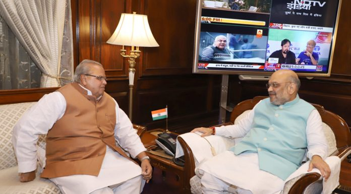 Governor Satya Pal Malik in a meeting with Union Home Minister Amit Shah on Saturday.