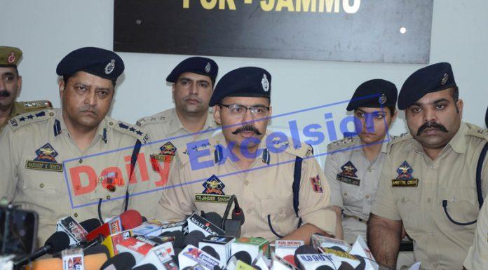 SSP Jammu Tejender Singh addressing a press conference in Jammu on Saturday. —Excelsior/Rakesh