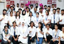 Brand Ambassadors of Aryans Group of Colleges, Rajpura, near Chandigarh posing for a group photograph during a function on Tuesday.