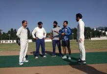 Toss of coin being held at Sports Stadium in Poonch on Tuesday.
