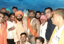 Famous Wrestler Gani of Punjab being felicitated after winning Sidh Swankha Kesari Dangal title at Vijaypur in Samba.