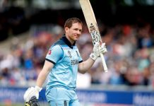England Captain Eoin Morgan celebrating century against Afghanistan in World Cup 2019 match at Manchester on Tuesday.