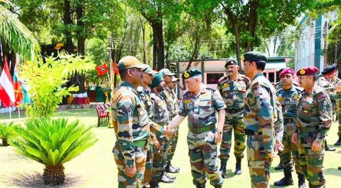 Army chief Gen Bipin Rawat meeting soldiers in Akhnoor sector on Saturday.