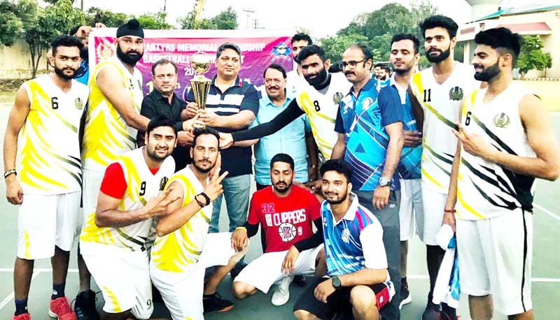 SSP Dushyant Sharma presenting trophies to winners in Jammu on Thursday.