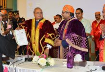 Governor Satya Pal Malik presenting degrees to students at convocation of Mewar University at SKICC on Thursday.