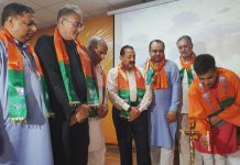BJP leaders launching membership drive at Jammu on Saturday.