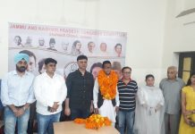 DCC Jammu president, Vikram Malhotra along with Youth Congress leaders during a party programme in Jammu.