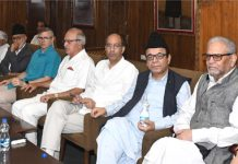 Omar Abdullah chairing a meeting of NC functionaries at Srinagar on Thursday.
