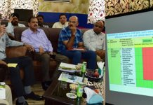 Advisor Vijay Kumar during launch of SSDI Office in Srinagar on Thursday.