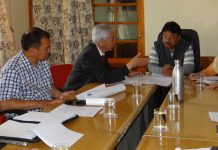 CEC LAHDC Leh holding a meeting with VC Ladakh University and others.
