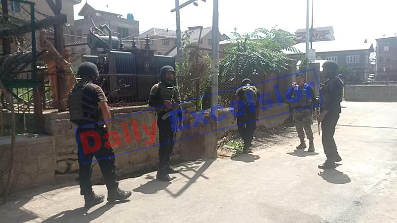 Security forces on alert after attack on the PDP leader's PSO at Bijbehara, Anantnag on Friday. -Excelsior/Sajjad Dar