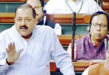 Union MoS in PMO Dr Jitendra Singh during introduction of RTI Amendment Bill in Lok Sabha on Friday.