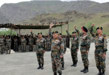 Army chief Gen Bipin Rawat and top Army Comdrs chant 'Bharat Mata Ki Jai' in Drass on Friday.