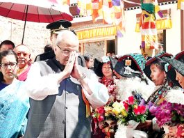 Governor being welcomed at Nubra on Tuesday.