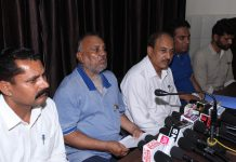 Members of J&K Reserved Categories Empowerment Alliance addressing a press conference at Jammu on Tuesday. —Excelsior/Rakesh