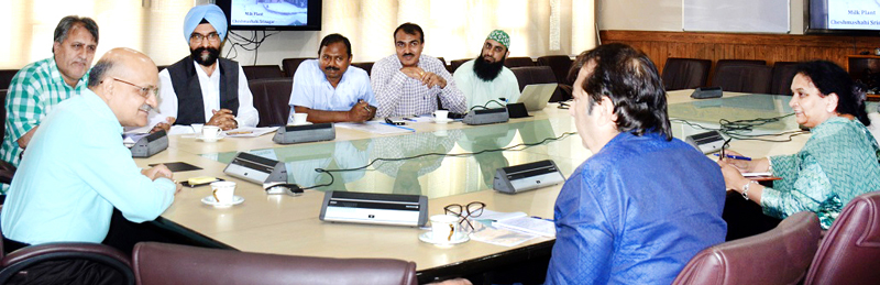 Chief Secretary chairing a meeting at Srinagar on Tuesday.