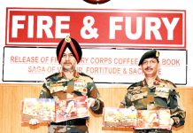 Northern Army Commander, Lt Gen Ranbir Singh alongwith Y K Joshi, GoC, 'Fire and Fury' Corps releasing a book on 'Fire and Fury' Corps at Leh.