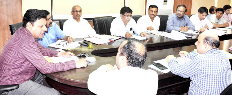 Divisional Commissioner Jammu chairing a meeting on Tuesday.