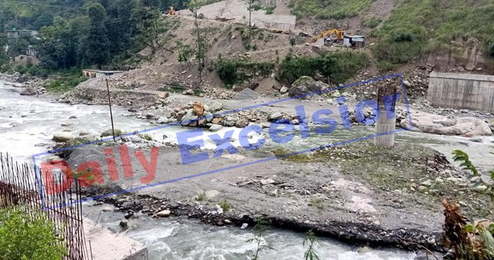 Work abandoned by JKPCC on Mandi bypass bridge since long in district Poonch. -Excelsior/Ramesh Bali