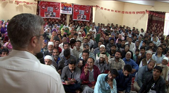 National Conference vice president Omar Abdullah addressing workers' convention in Eidgah constituency of Srinagar on Thursday.