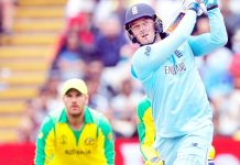 England batsman Jason Roy executing a shot against Australia in WC semi final match at Birmingham.