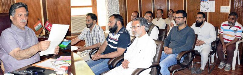 Advisor Khurshid Ahmad Ganai meeting a delegation at Srinagar on Thursday.
