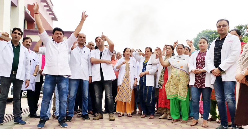 Doctors and other staff of SDH Bishnah staging protest in hospital premises.