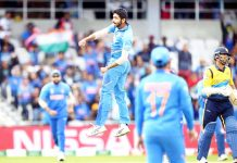Jasprit Bumrah in action after taking the wicket of Sri Lankan batsman during league match in ICC Cricket World Cup 2019 at Leeds on Saturday. (UNI)