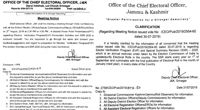 Two orders issued by the CEO office J&K.