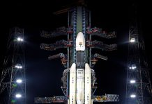A view of GSLV Mk-III carrying Chandrayaan-2 payloads launch has been called off after technical snag was observed in launch vehicle system, in Sriharikota on Monday. (UNI)